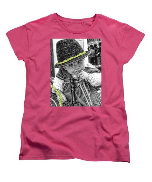 Women's T-Shirt (Standard Cut) featuring the photograph Cuenca Kids 888 by Al Bourassa