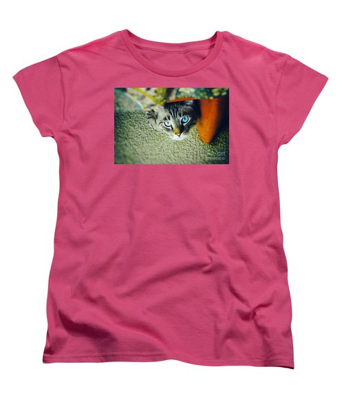 Women's T-Shirt (Standard Cut) featuring the photograph Curious Kitty by Silvia Ganora