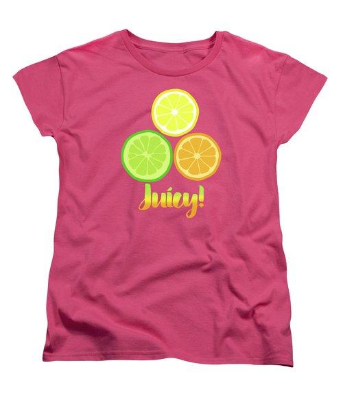 Cute Juicy Orange Lime Lemon Citrus Fun Art Women's T-Shirt (Standard Cut) by Tina Lavoie