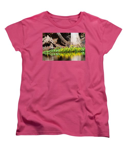 Cypress And Flower Reflections Women's T-Shirt (Standard Cut) by Warren Thompson