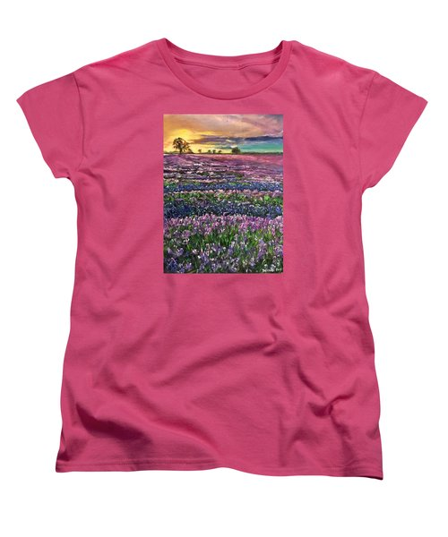 Women's T-Shirt (Standard Cut) featuring the painting D R E A M S by Belinda Low