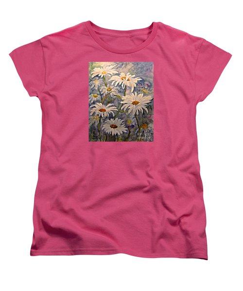 Daisies Watercolor Women's T-Shirt (Standard Cut) by AmaS Art