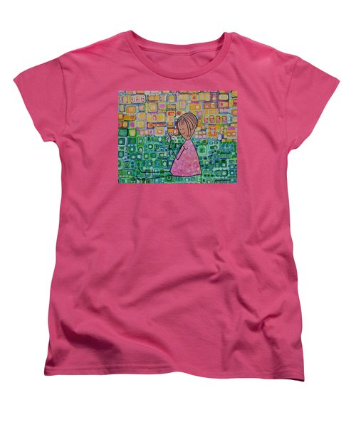 Women's T-Shirt (Standard Cut) featuring the painting Daisy by Donna Howard
