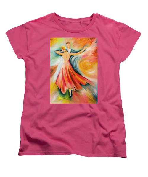 Women's T-Shirt (Standard Cut) featuring the painting Dance Me To The End Of Time by Itzhak Richter