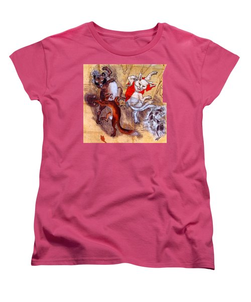 Japanese Meiji Period Dancing Feral Cat With Wild Animal Friends Women's T-Shirt (Standard Cut)