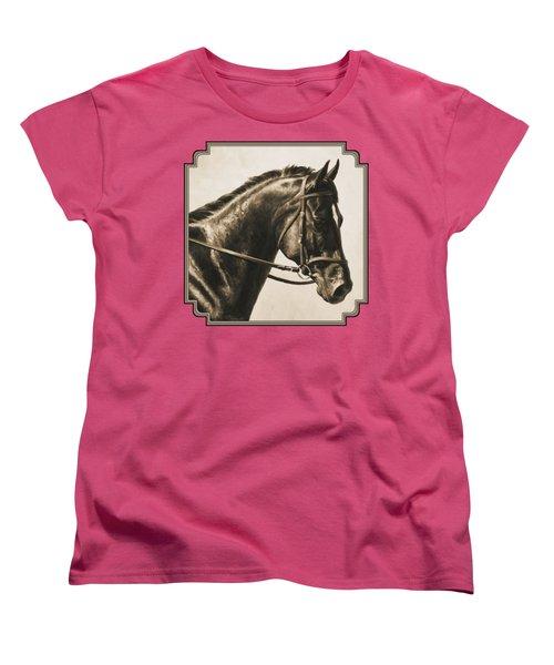 Dark Bay Dressage Horse Aged Photo Fx Women's T-Shirt (Standard Fit)