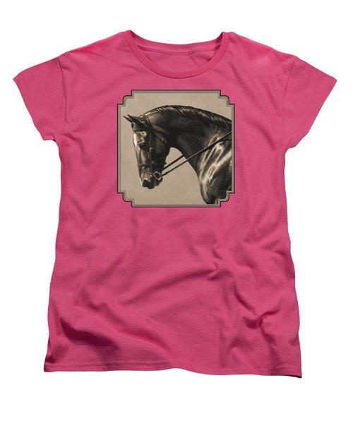 Dark Dressage Horse Aged Photo Fx Women's T-Shirt (Standard Fit)