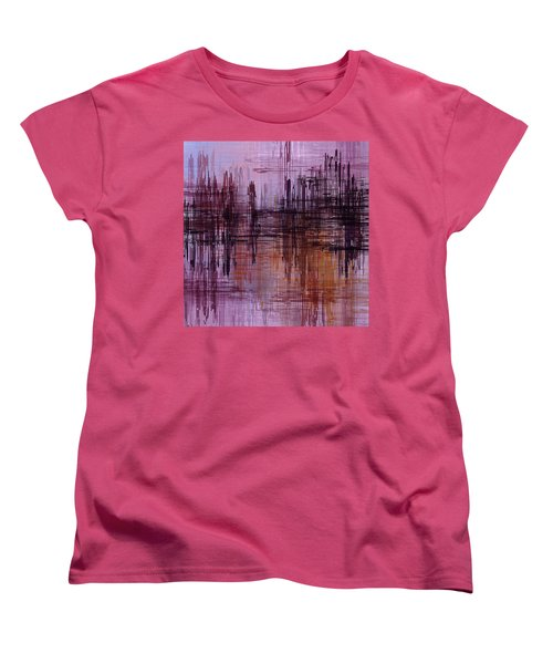 Women's T-Shirt (Standard Cut) featuring the painting Dark Lines Abstract And Minimalist Painting by Ayse Deniz