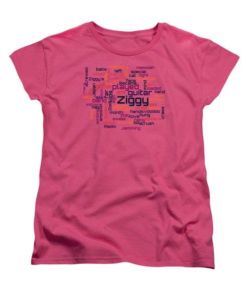 David Bowie - Ziggy Stardust Lyrical Cloud Women's T-Shirt (Standard Cut) by Susan Maxwell Schmidt