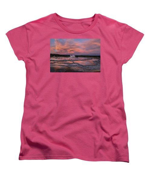 Women's T-Shirt (Standard Cut) featuring the photograph Dawn At Great Fountain Geyser by Roman Kurywczak