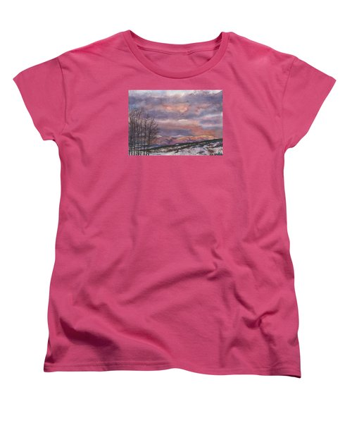 Women's T-Shirt (Standard Cut) featuring the painting Daylight's Last Blush by Anne Gifford