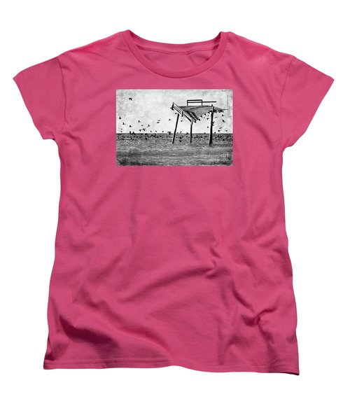 Women's T-Shirt (Standard Cut) featuring the photograph Death Of A Friend - Frisco Pier Outer Banks Bw by Dan Carmichael