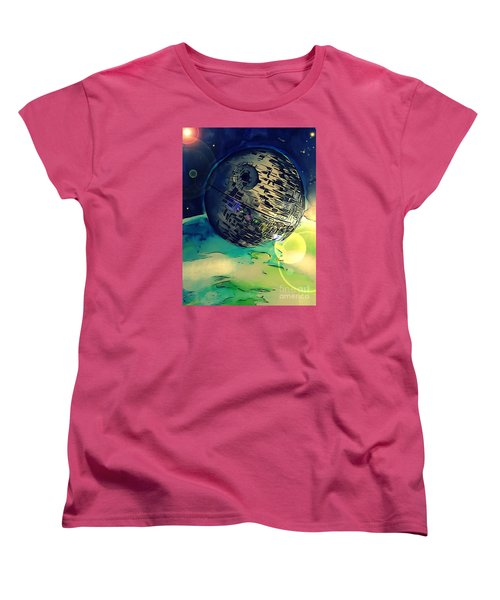 Death Star Illustration  Women's T-Shirt (Standard Cut) by Justin Moore