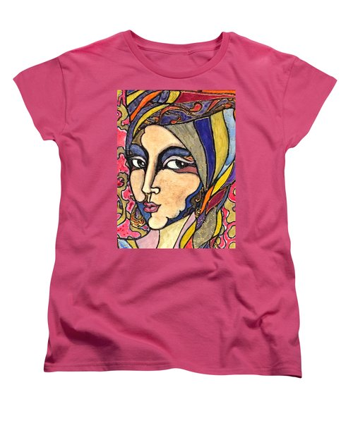 Women's T-Shirt (Standard Cut) featuring the painting Decoface 3 by Rae Chichilnitsky