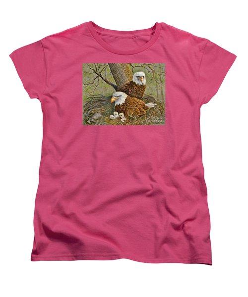 Decorah Eagle Family Women's T-Shirt (Standard Cut) by Marilyn Smith