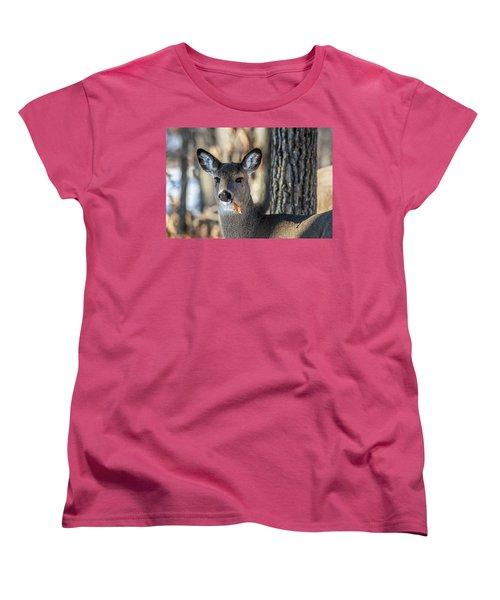 Women's T-Shirt (Standard Cut) featuring the photograph Deer At The Salad Bar by Paul Freidlund