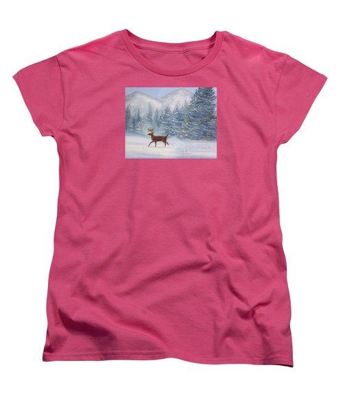 Deer In The Snow Women's T-Shirt (Standard Cut) by Denise Fulmer