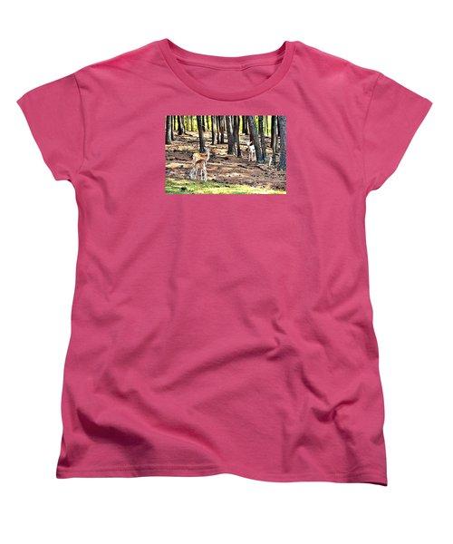 Deer In The Summer Forest Women's T-Shirt (Standard Cut) by James Potts