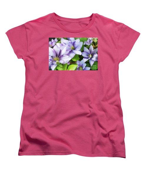 Delicate Climbing Clematis  Women's T-Shirt (Standard Cut) by Judy Palkimas