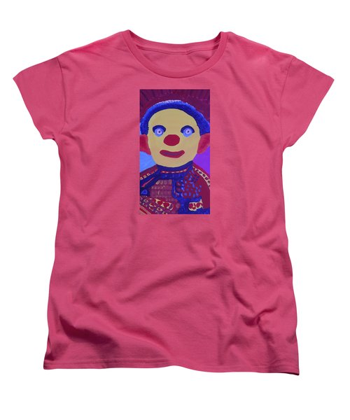 Women's T-Shirt (Standard Cut) featuring the painting Demented Clownboy by Don Koester