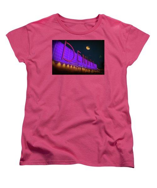 Women's T-Shirt (Standard Cut) featuring the photograph Denver Pavilion At Night by Kristal Kraft