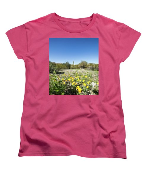 Women's T-Shirt (Standard Cut) featuring the photograph Desert Flowers And Cactus by Ed Cilley