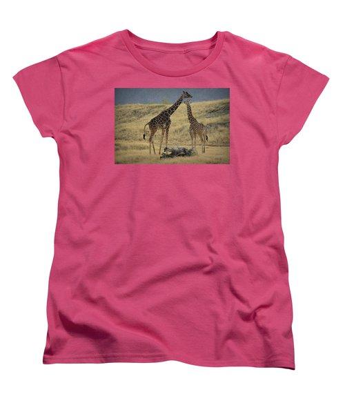 Women's T-Shirt (Standard Cut) featuring the photograph Desert Palm Giraffe by Guy Hoffman