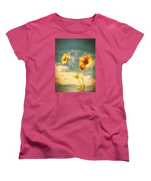 Women's T-Shirt (Standard Cut) featuring the photograph Desert Sunflower  ... by Chuck Caramella