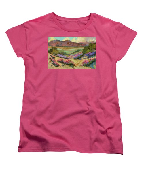 Desert Verbena At Borrego Springs Women's T-Shirt (Standard Cut) by Diane McClary