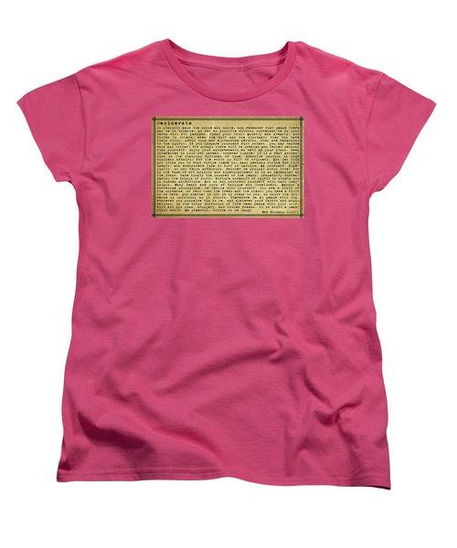 Desiderata By Max Ehrmann Women's T-Shirt (Standard Cut) by Olga Hamilton