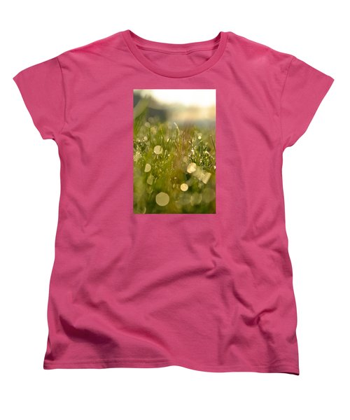 Women's T-Shirt (Standard Cut) featuring the photograph Dew Droplets by Nikki McInnes