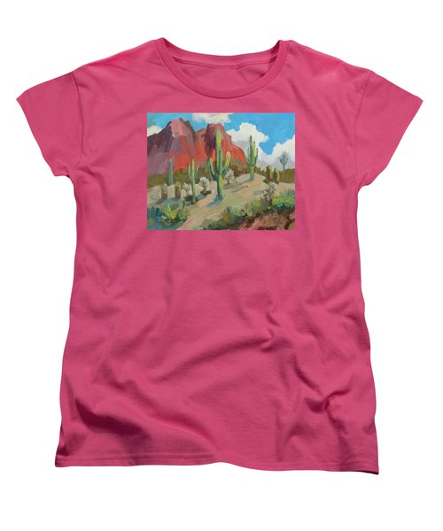 Women's T-Shirt (Standard Cut) featuring the painting Dinosaur Mountain by Diane McClary