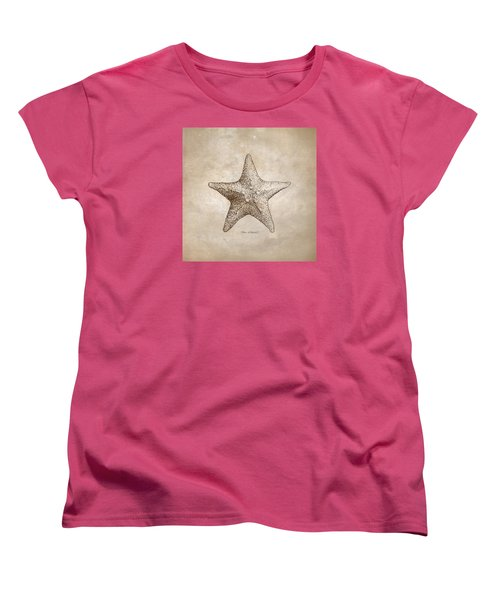 Women's T-Shirt (Standard Cut) featuring the drawing Distressed Antique Nautical Starfish by Karen Whitworth