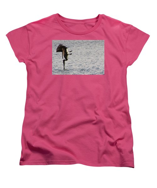 Women's T-Shirt (Standard Cut) featuring the photograph Diving Pelican by Laurel Talabere