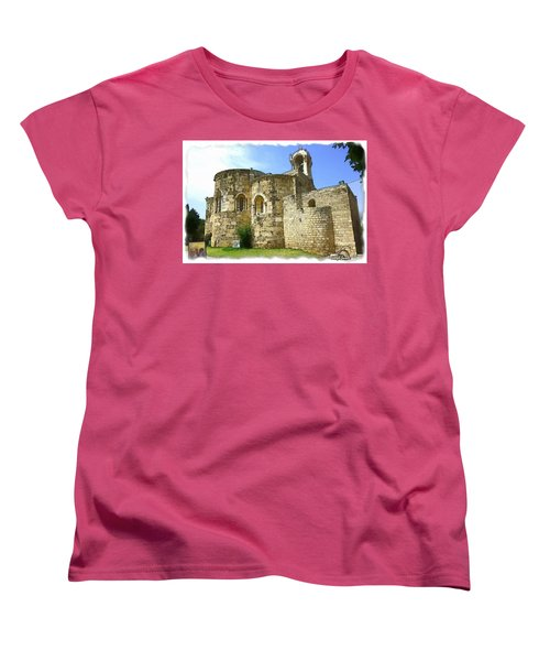 Women's T-Shirt (Standard Cut) featuring the photograph Do-00344 Church Of St John Marcus In Byblos by Digital Oil