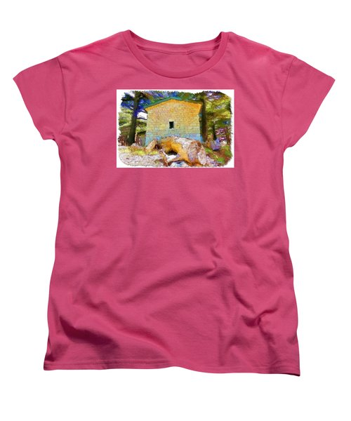 Do-00435 Building Surrounded By Cedars Women's T-Shirt (Standard Cut) by Digital Oil