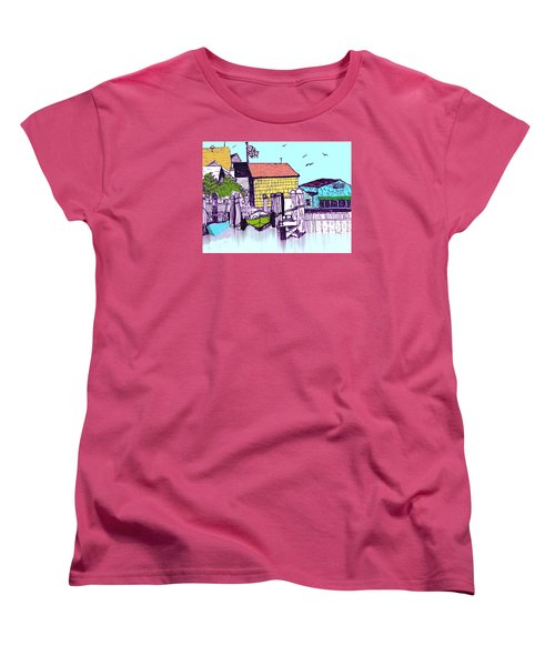 Dockside - Watercolor Sketch Women's T-Shirt (Standard Cut) by Merton Allen