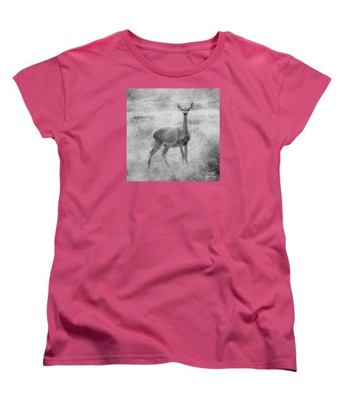 Women's T-Shirt (Standard Cut) featuring the photograph Doe A Deer A Female Deer In Mono by Linsey Williams