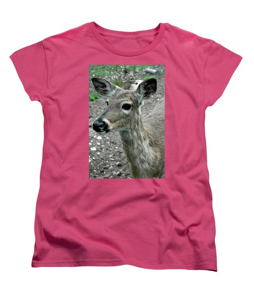 Women's T-Shirt (Standard Cut) featuring the photograph Doe Eyes by LeeAnn McLaneGoetz McLaneGoetzStudioLLCcom