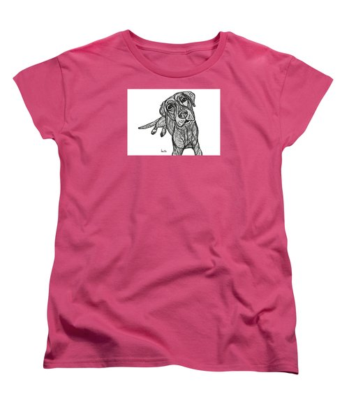 Women's T-Shirt (Standard Cut) featuring the drawing Dog Sketch In Charcoal 10 by Ania M Milo
