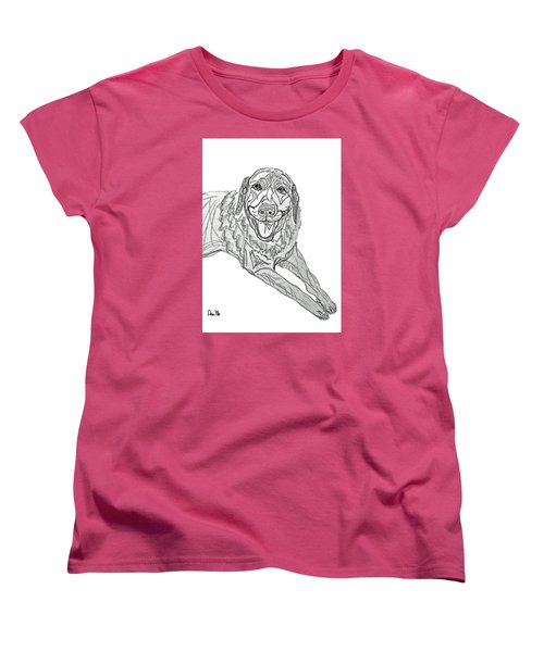 Women's T-Shirt (Standard Cut) featuring the drawing Dog Sketch In Charcoal 9 by Ania M Milo