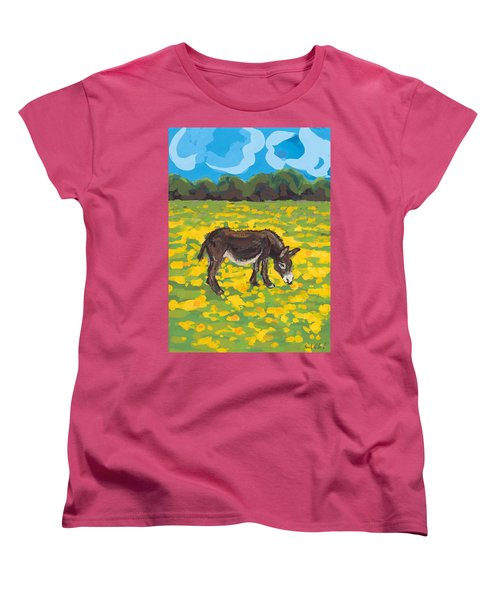 Donkey And Buttercup Field Women's T-Shirt (Standard Cut) by Sarah Gillard