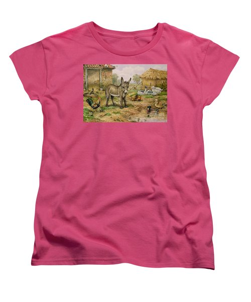Donkey And Farmyard Fowl  Women's T-Shirt (Standard Cut) by Carl Donner