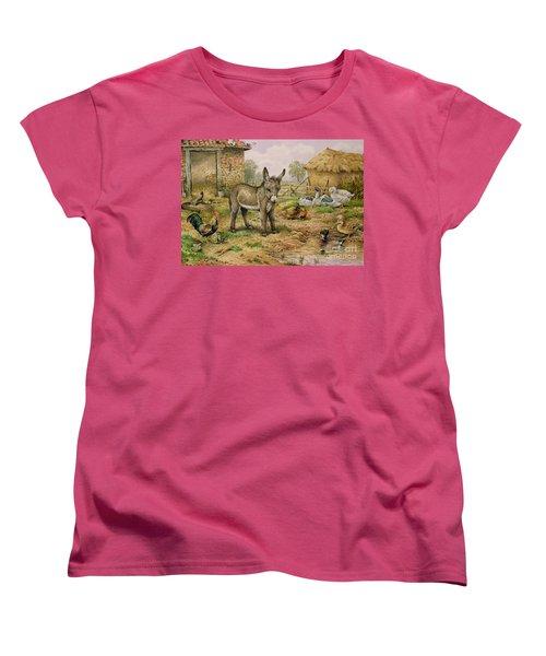 Donkey And Farmyard Fowl  Women's T-Shirt (Standard Cut) by Carl Donner