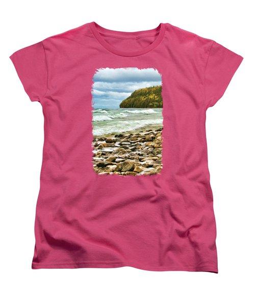Door County Porcupine Bay Waves Women's T-Shirt (Standard Cut) by Christopher Arndt