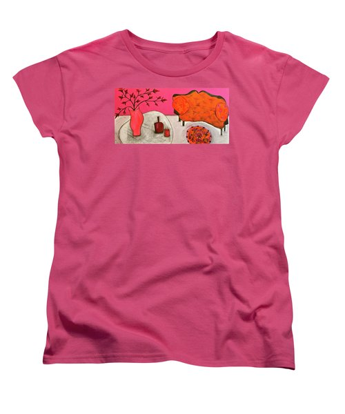 Women's T-Shirt (Standard Cut) featuring the painting Down The Stairs Into The Living Room  By Paul Paucciarelli  by Iconic Images Art Gallery David Pucciarelli
