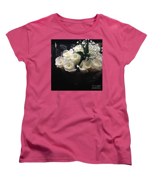 Dozen White Bridal Roses Women's T-Shirt (Standard Cut) by Richard W Linford