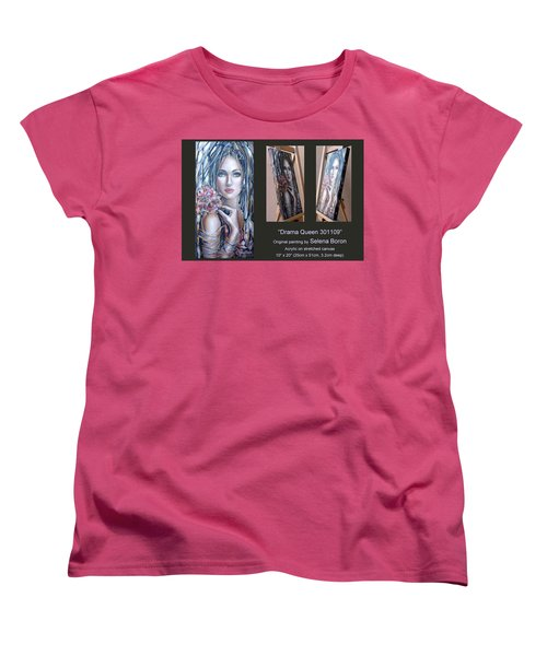 Women's T-Shirt (Standard Cut) featuring the painting Drama Queen 301109 by Selena Boron