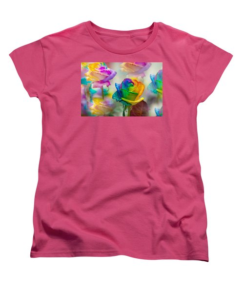 Women's T-Shirt (Standard Cut) featuring the photograph Dreams Of Rainbow Rose by Jenny Rainbow