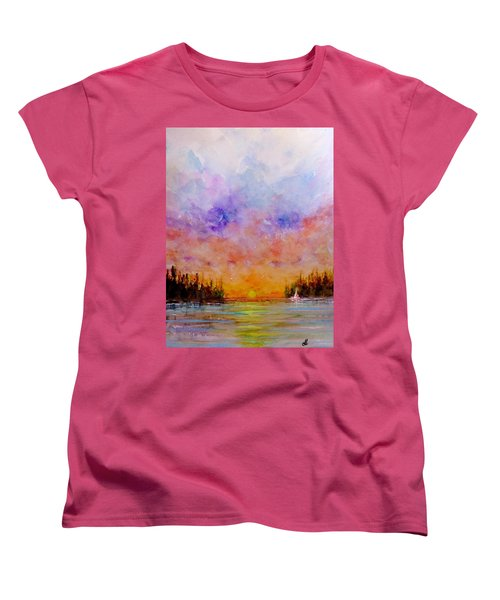 Women's T-Shirt (Standard Cut) featuring the painting Dreamscape.. by Cristina Mihailescu